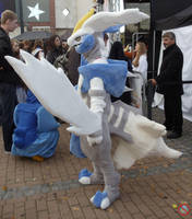 White Kyurem cosplay fursuit SIDE VIEW by shadowhatesomochao