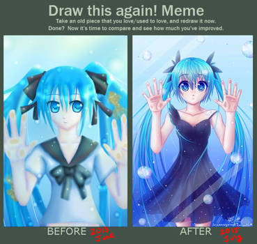 Trapped Underwater Miku: Before and After Meme by Sarumaneyarou