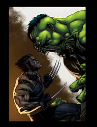 Wolverine Vs Hulk Color by logicfun
