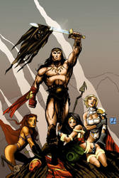 Commision: Conan vs DCU colour by sean-izaakse
