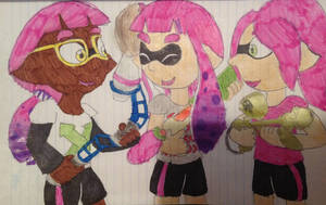 The pink team (art trade + request) by Mela-the-cat