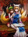 Ran Yakumo and Chen in Engawa by tafuto001