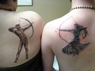 Artemis and Apollo by LokiTrickmaster