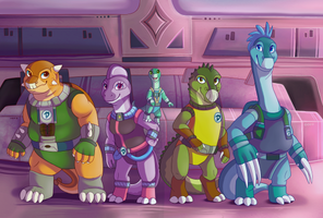 Commission - The New Dinosaucers by Dreaming-Roses
