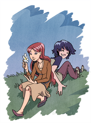 Annie and Kat from Gunnerkrigg Court by Khaiya