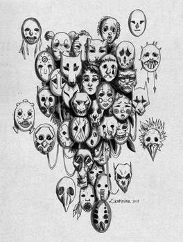 Masks (Inktober #28) by Likopinina