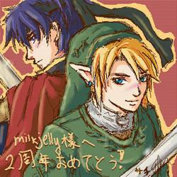 Oekaki: Ike + Link by Asaphira