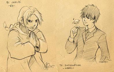 F.Sketch09-3+5: Ed + Hibari by Asaphira
