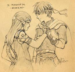 F.Sketch09-4: Ike + Zelda by Asaphira