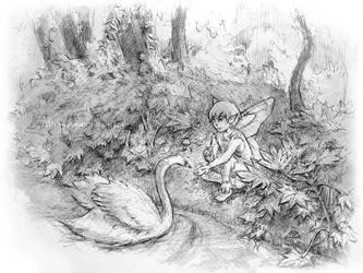 Feeding Swan by Asaphira