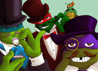 TMNT: Top Hats Moustache and Monocle by loolaa