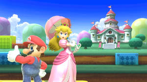 Mario and Peach with castle by Banjo2015