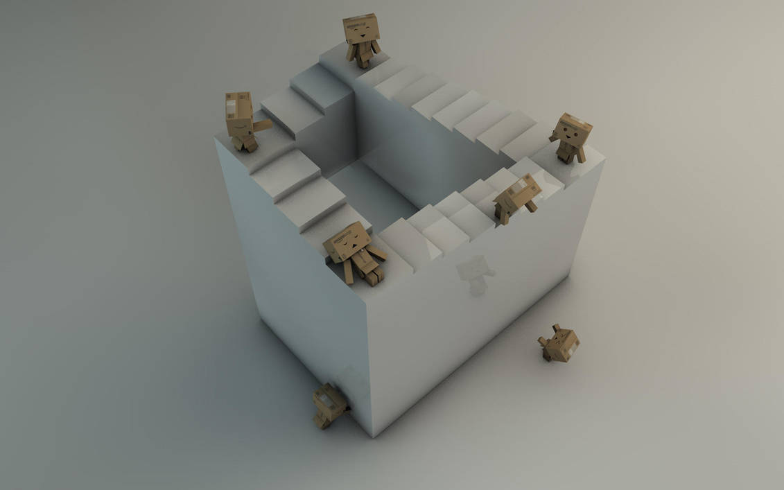 Danbo And A Never Ending Stairs Optical Illusion By Dracu Teufel666