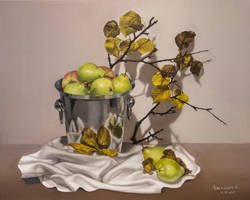 Pears - OIL PAINTING ON LINEN CANVAS by Astartte