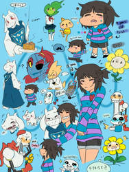 18 years old Frisk and a lots of undertale doodles by servantofpsychotic
