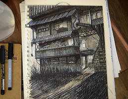 Postapocalyptic Warehouse Sketch by nikolayhranov