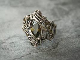 Olive Green Silver Ring by Bodza