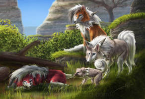 Lycanroc and Rockruff by Yggdrassal