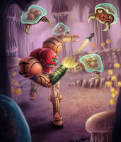 Metroid Attack by Yggdrassal