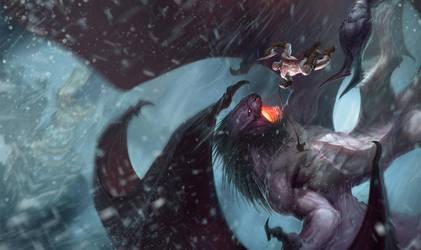 Kratos VS the Manticore by IzzyMedrano