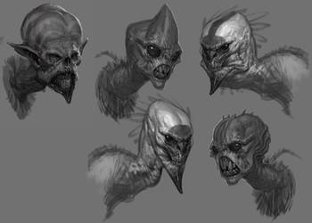Harpy Sketches GoW:A by IzzyMedrano