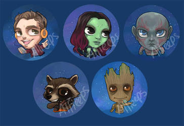 Guardians of the Galaxy buttons by perishing-twinkie