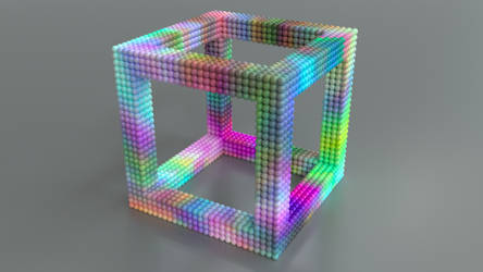 Cube of Marbles by mlindeart