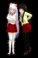 School Girl Mokou and Kaguya by PachiPachy