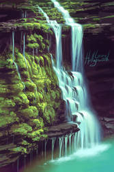 Mossy Waterfall (+Process Video) by LauraHollingsworth