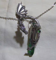Silver Dragon with Emerald Green Bullet Pendant by mymysticgems