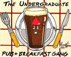 The Pub+Breakfast Gang Sticker by AaronSmurfMurphy