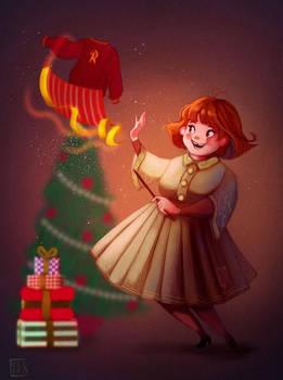 Molly Weasley preparing Christmas by Celiarts