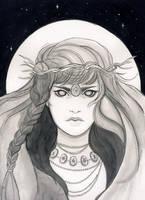 Inktober 2017 - The blind priestess by Celiarts