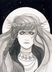 Inktober 2017 - The blind priestess by Celiarts