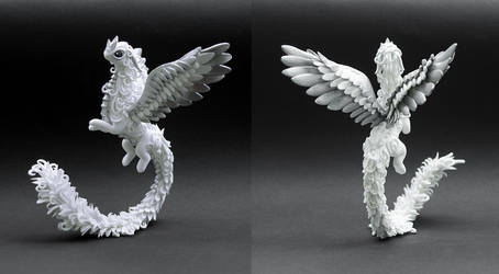 White and silver dragon by MyOwnDragon