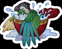 STICKER: Green Cheek Bathtime by Brushfeather