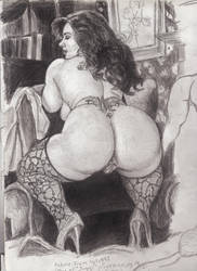 Angel AKA Bobby Jo BBW Sketch Rear View by SteevDragon