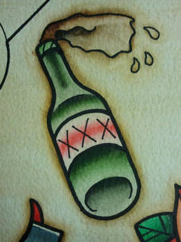 Tattoo Flash: Booze Bottle by Bass-Slinger
