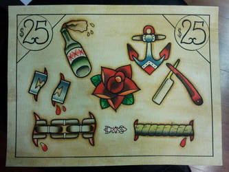 Tattoo Flash: Working Flash Sheet 01 by Bass-Slinger