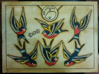 Tattoo Flash: Traditional Swallow Flash Sheet by Bass-Slinger