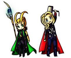 Chibi Loki and Thor by Jakie-boi