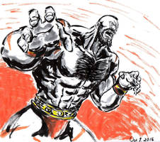 Inktober Day 1 - The Red Cyclone - Zangief by Horoko