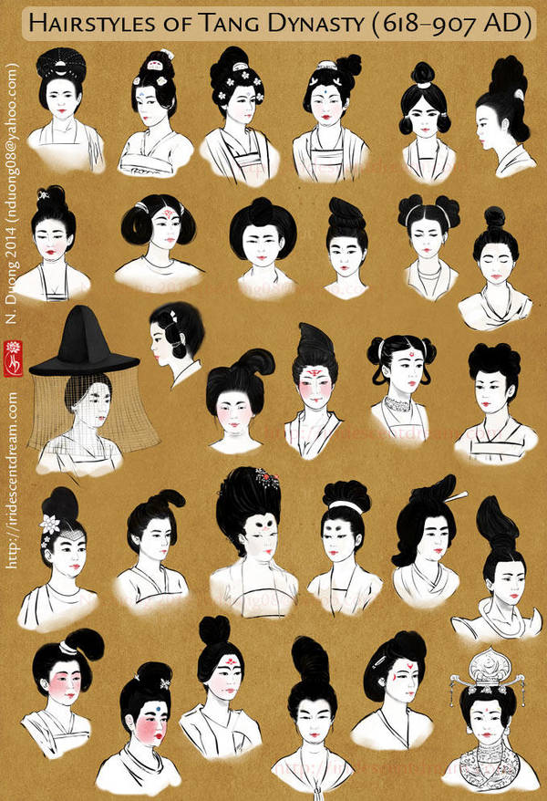 Hairstyles of China's Tang Dynasty Women by lilsuika