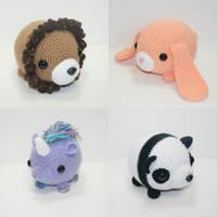 Chubby animals by Heartstringcrochet