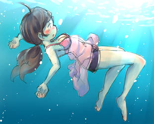 Swimming Underwater by chidori-marineblue