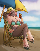 Beach Time Bernadette - Day Version [Commission] by KadathArt