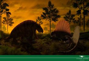 Sphenacodon vs Dimetrodon by Vitor-Silva