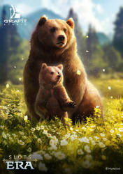 Bear mother and her cub by Cornis