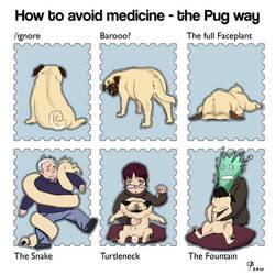 Pug hates medicine by engelszorn