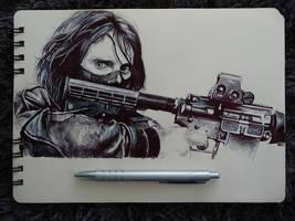 Bucky Barnes-Sketch by Marrannon